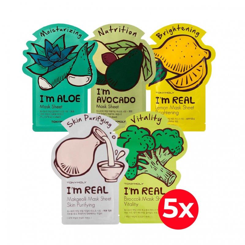 Pack X5 Mascarillas Tony Moly Im (Aloe, Avocado, Broccoli, Lemon, Makegeolli)
